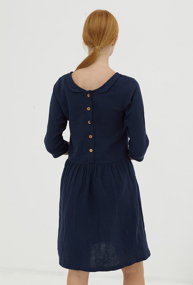 Vestido algodón orgánico con botones azul