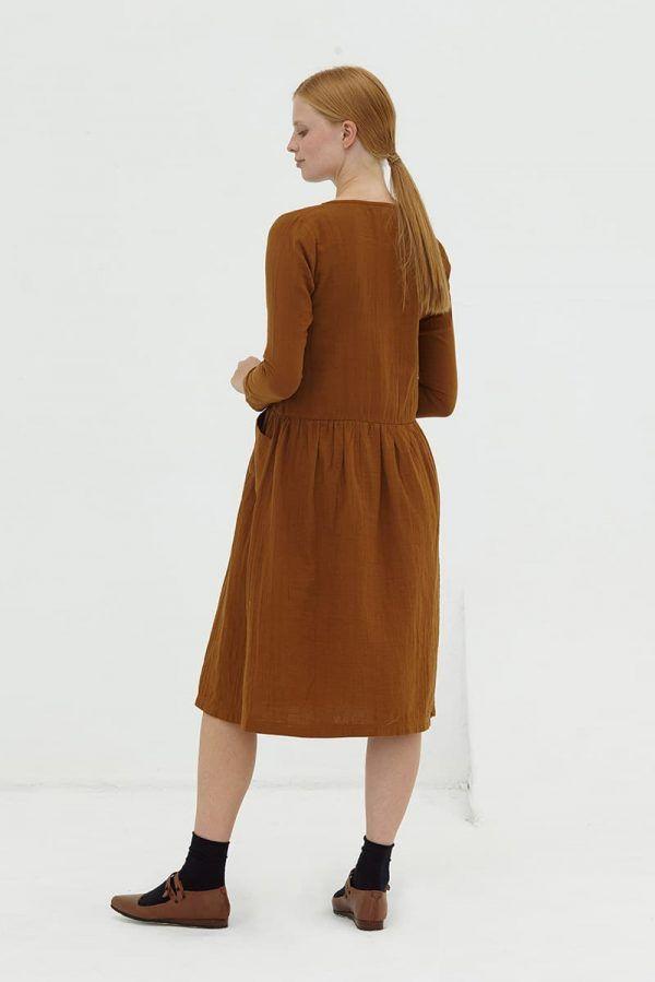 Vestido algodón orgánico midi marrón mujer