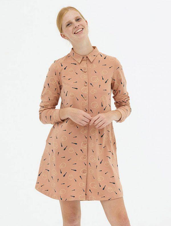 Vestido camisero rosa algodón ecológico Tiralahilacha