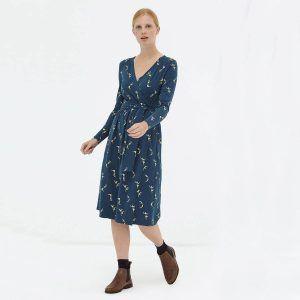 Vestido cruzado azul marino algodón orgánico