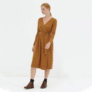 Vestido cruzado marrón algodón orgánico