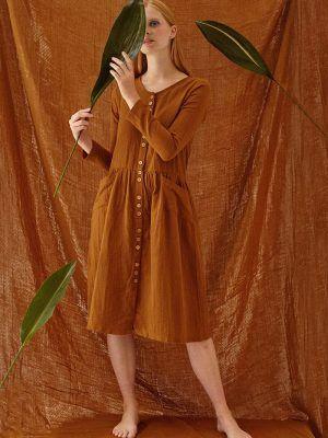 Vestido ecológico marrón manga larga Tiralahilacha