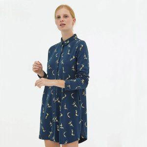 Vestido evasé camisero azul de algodón orgánico