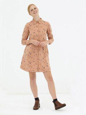 Vestido evasé camisero rosa de algodón orgánico