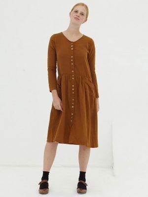 Vestido midi marrón con botones de algodón orgánico