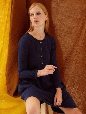Vestido muselina algodón orgánico azul marino Tiralahilacha