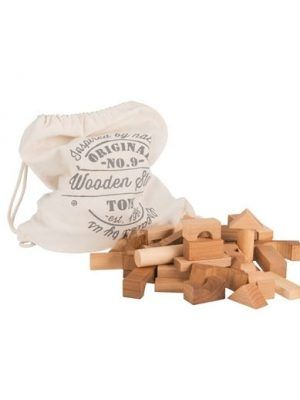 Bloques de madera en bolsa de 100 piezas