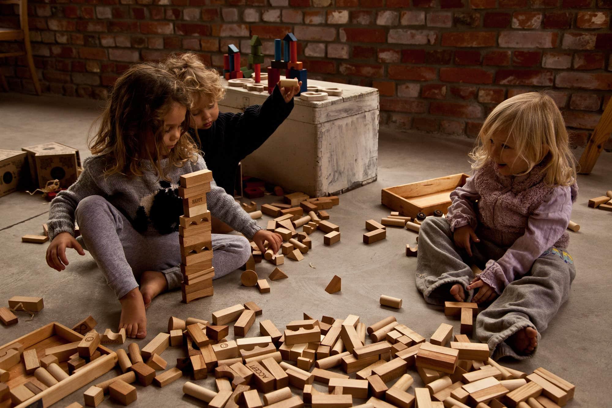 Bloques de madera niños.