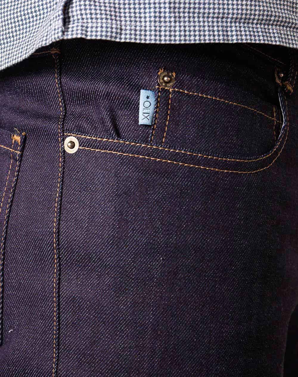 Bolsillo lateral jeans slim fit hombre indigo oscuro ecológicos