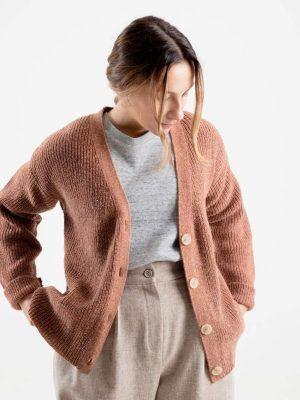 Cardigan de lana para mujer cobre