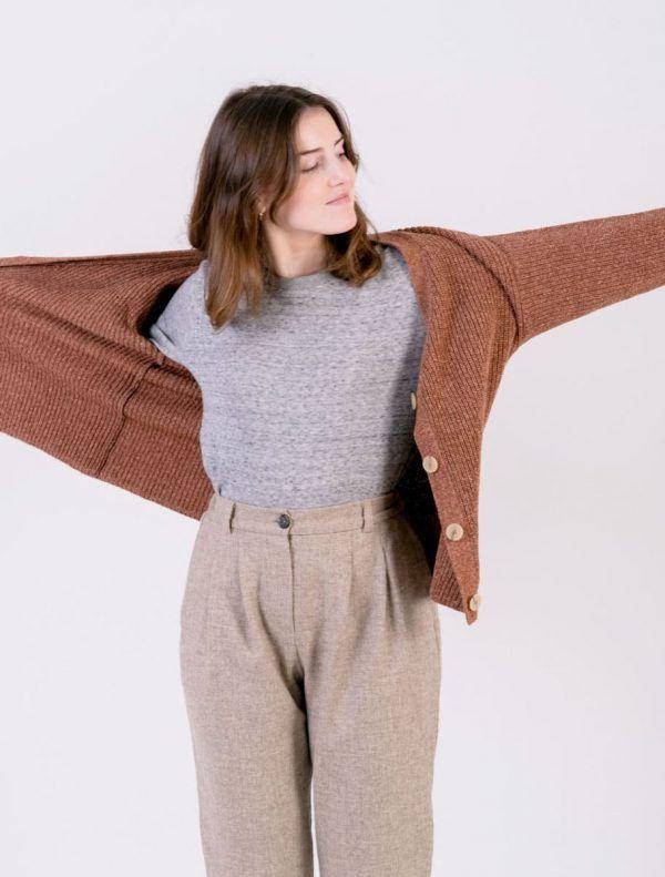 Chaqueta de lana abierta mujer