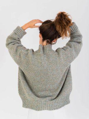 Espalda jersey grueso de lana reciclada verde