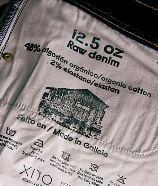 Etiqueta interior pantalones vaqueros ecológicos Xiro