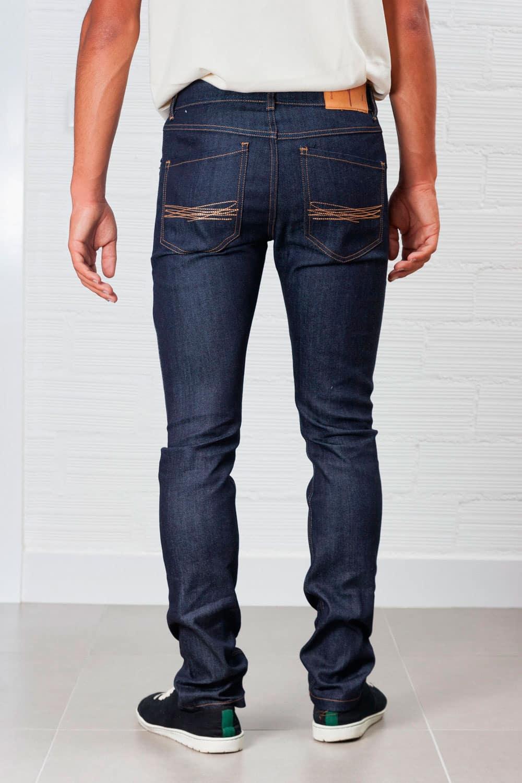 Jeans slim fit hombre indigo oscuro ecológicos