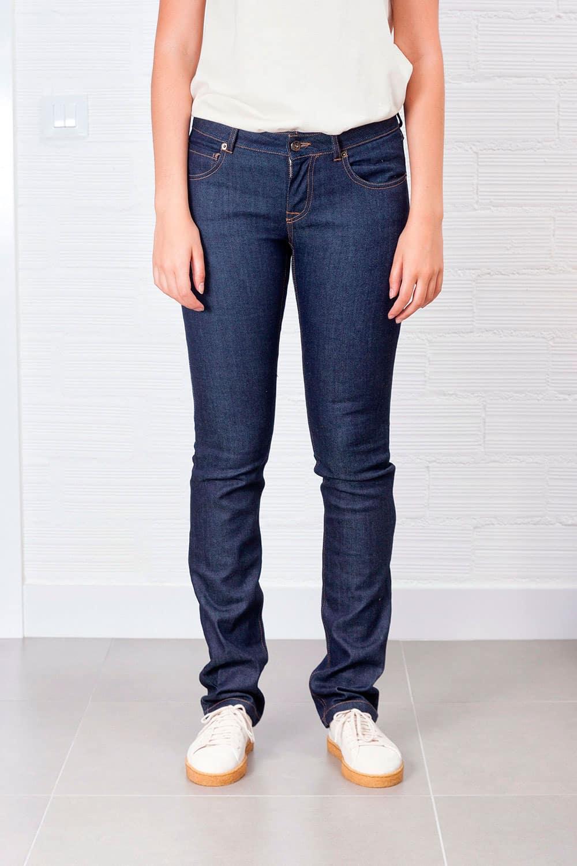 Jeans slim fit mujer indigo oscuro ecológicos