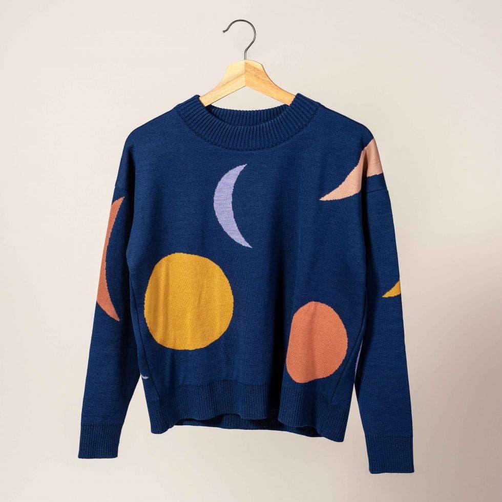 Jersey de lana estampado fases lunares azul