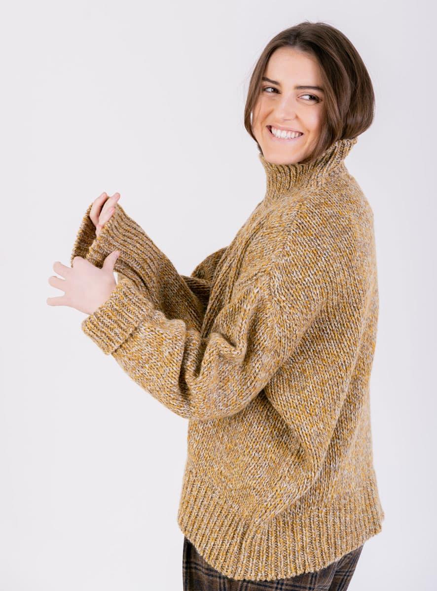 Jersey lana gruesa amarillo mujer