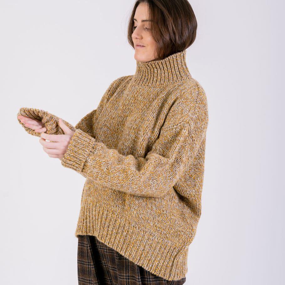 Jersey sostenible mujer amarillo lana reciclada