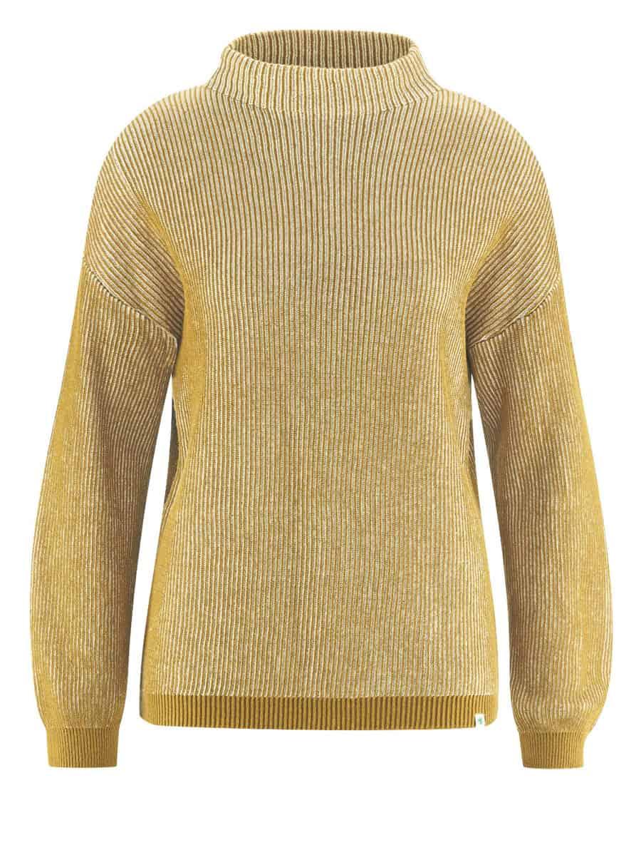 Suéter de punto acanalado mostaza mujer