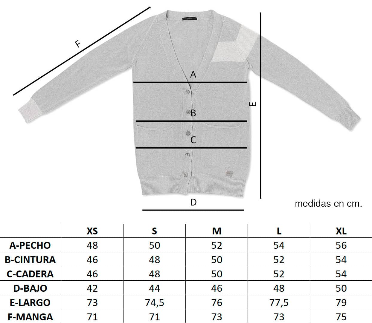 Guía de tallas chaqueta punto mujer Munia