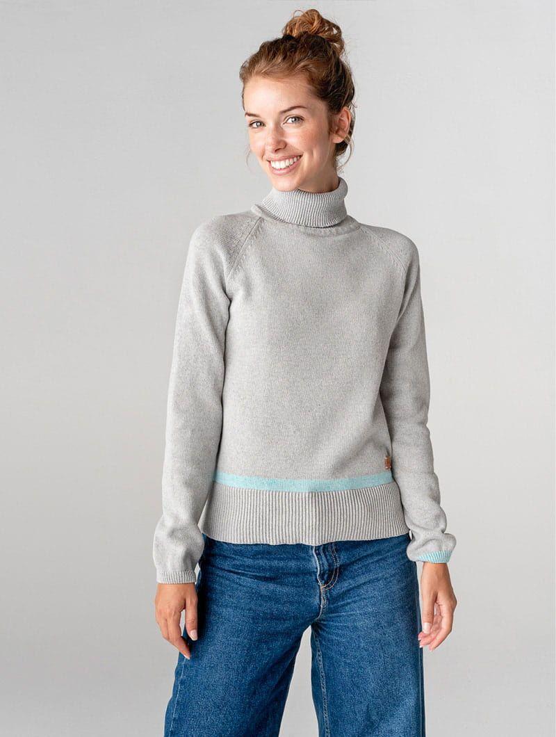 Jersey cuello alto de algodón orgánico gris