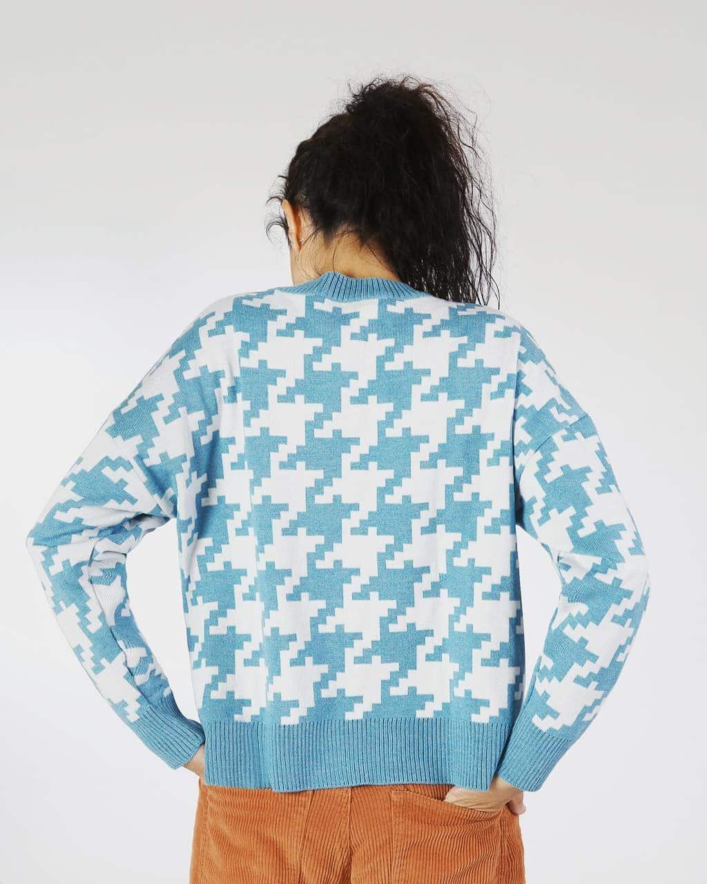 Jersey pata de gallo azul espalda