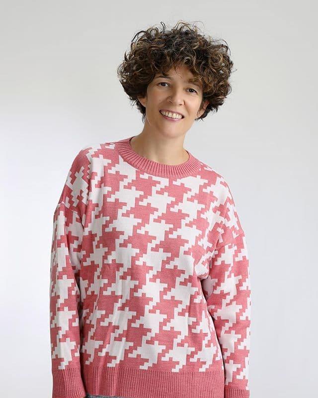 Jersey pata de gallo rosa