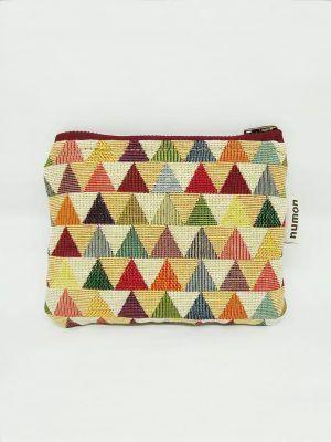 Monedero de tela de triángulos de colores