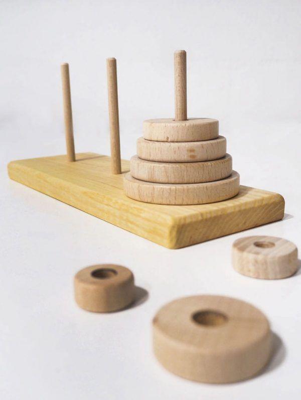 Aros madera torre de hanoi