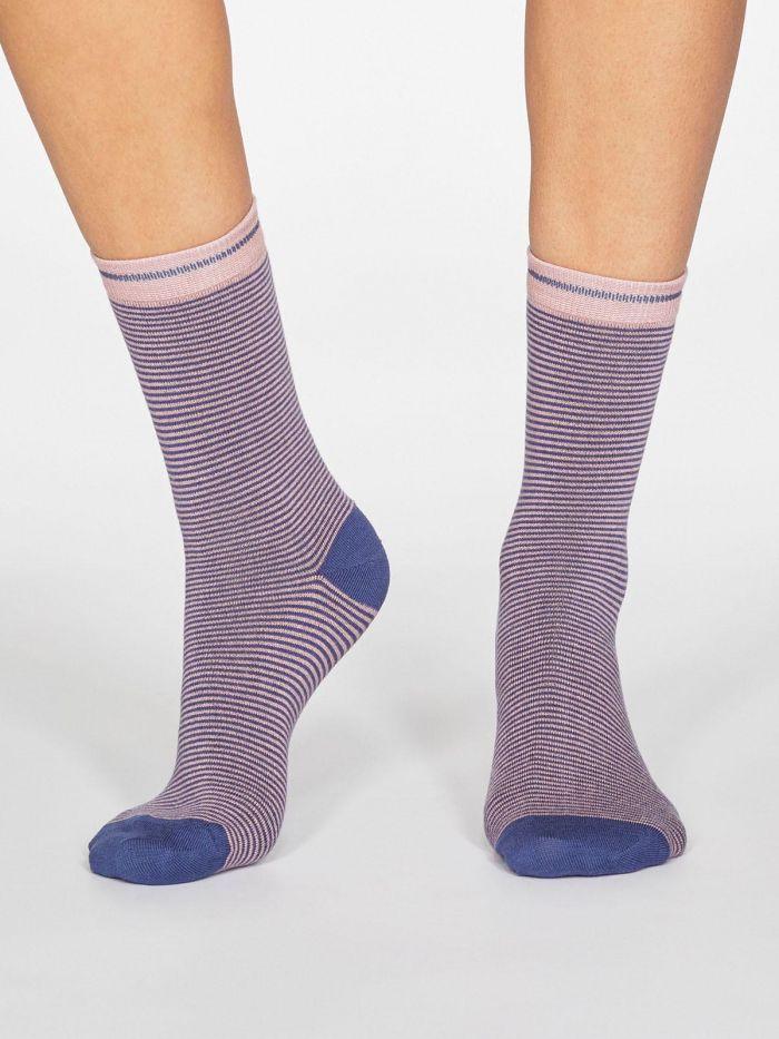 Calcetines estampados ecológicos rayas azul rosa