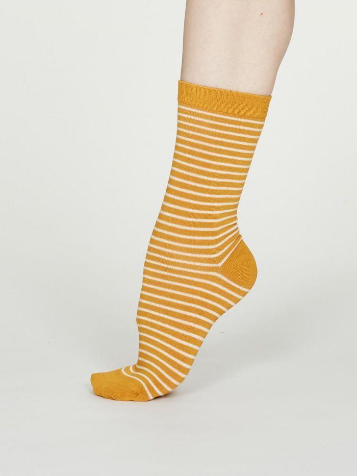 Calcetines sostenibles mujer rayas amarillas