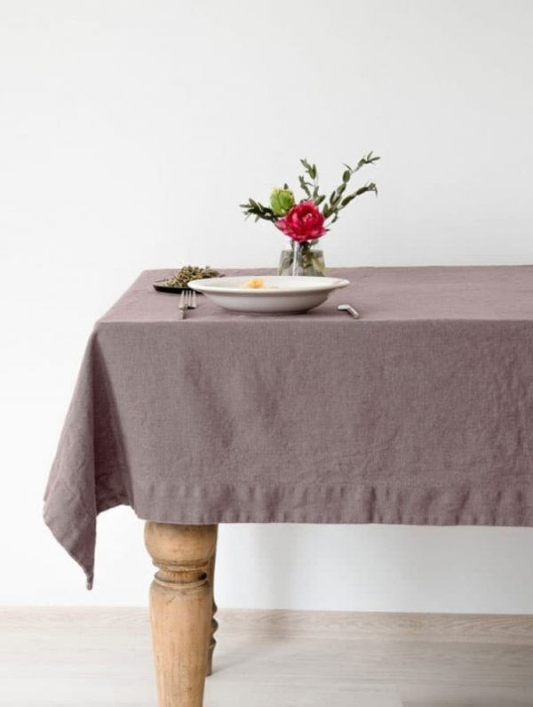Mantel de lino color rosa ceniza