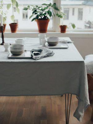 Mantel de tela blanco de algodón orgánico