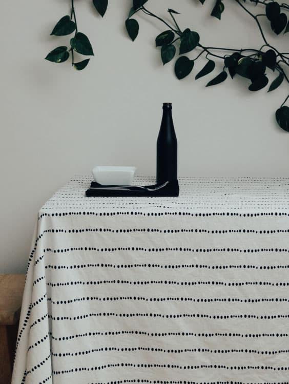 Mantel de tela de algodón orgánico con estampado de puntos