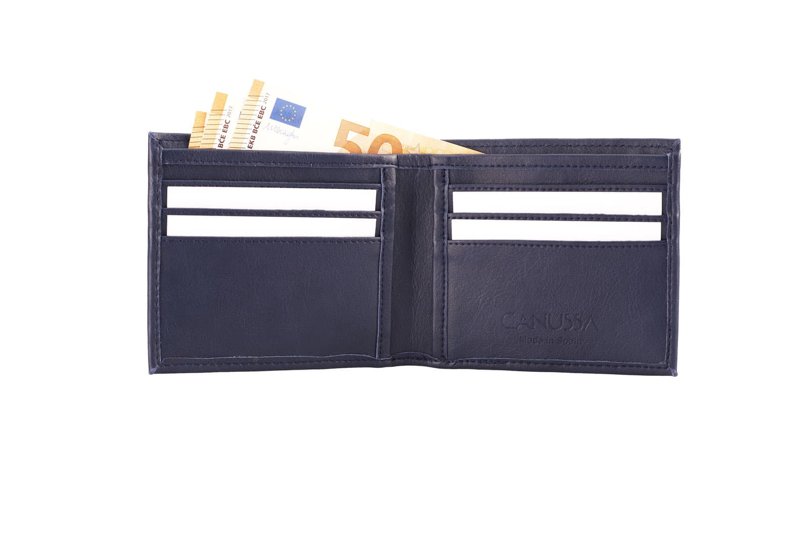Cartera azul para tarjetas y billetes