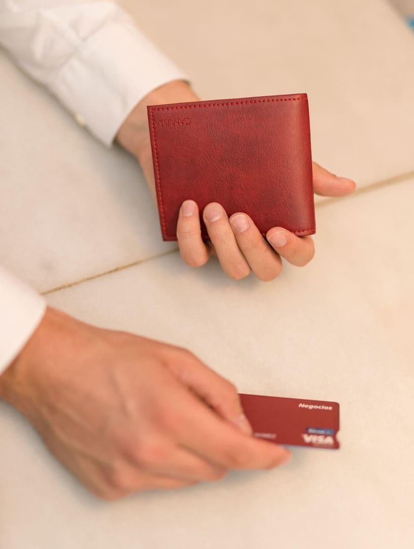 Cartera billetera roja 100% vegana