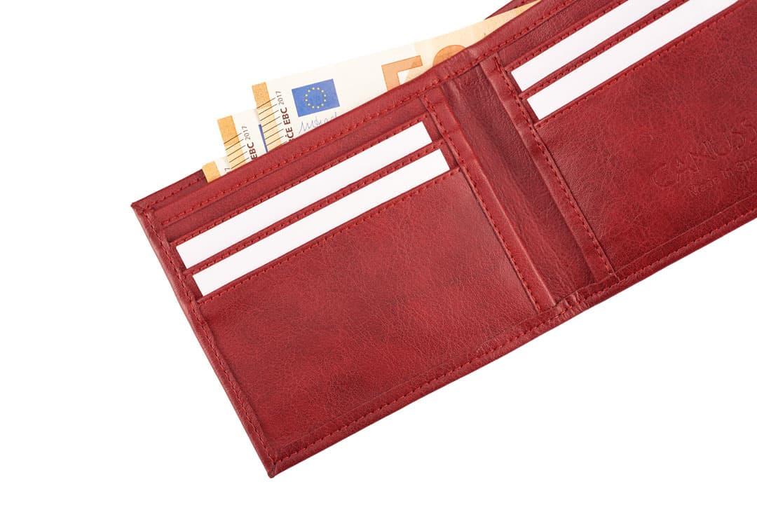 Cartera billetera vegana color rojo abierta