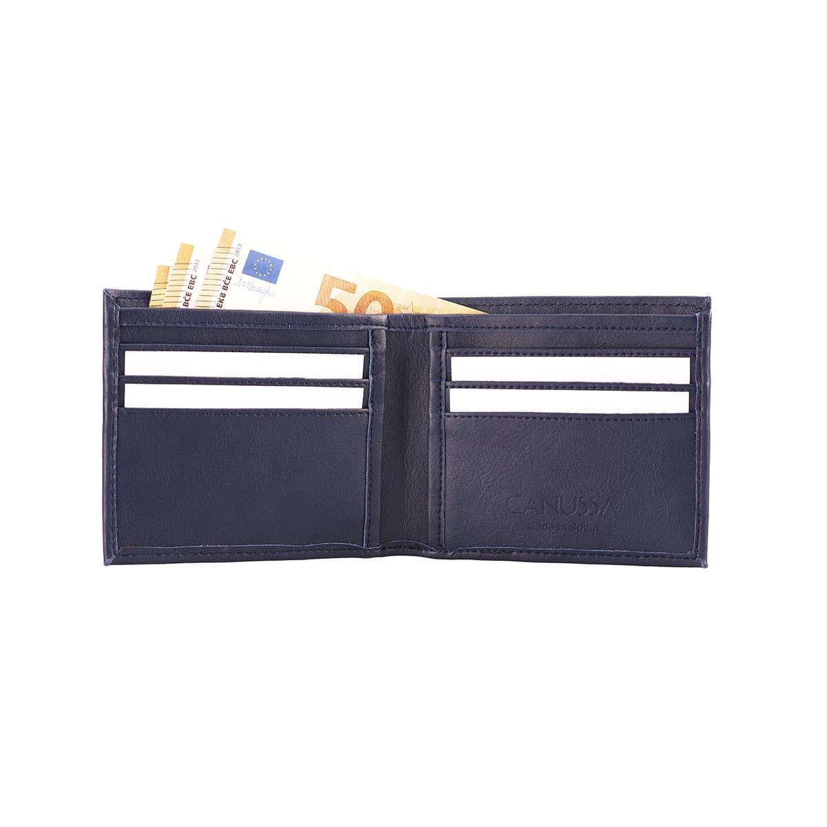 Interior cartera billetera color azul