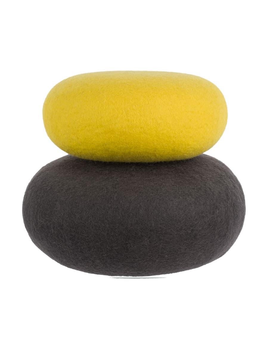 2 cojines de yoga amarillo antracita