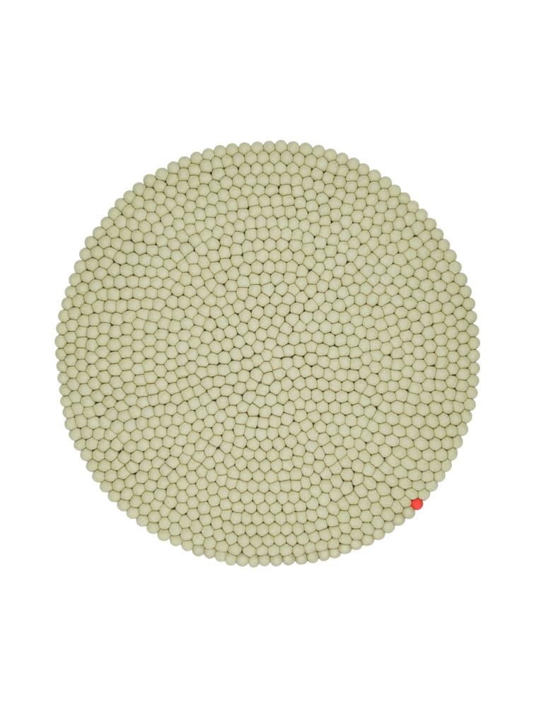 Alfombra circular color verde-beige