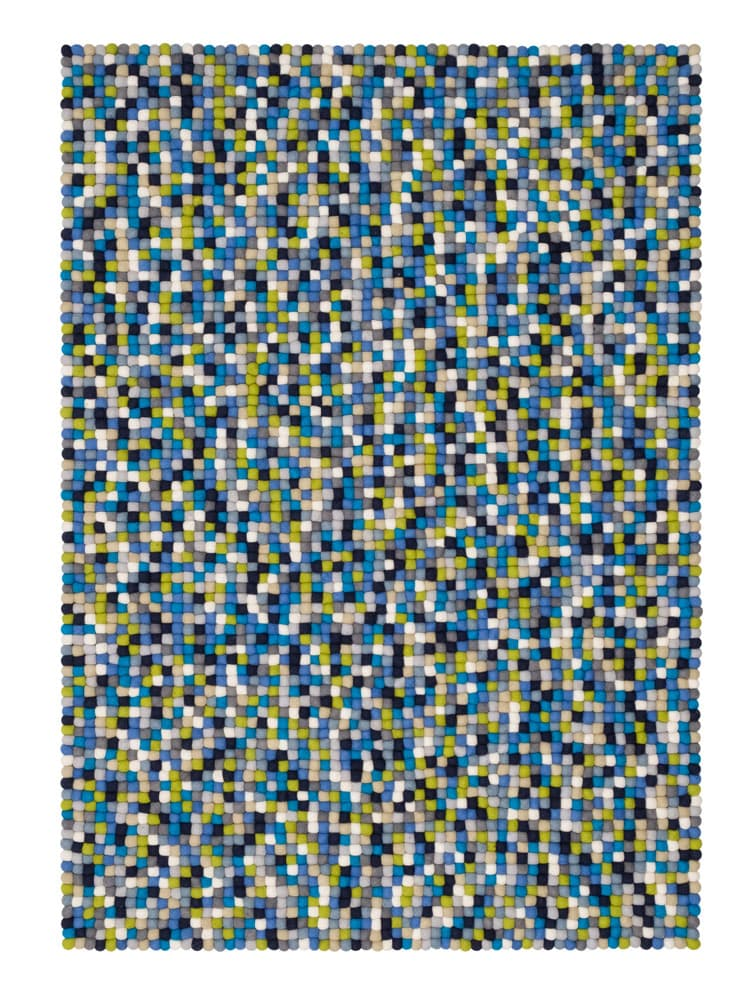 Alfombra colores rectangular azul-verde-blanco grande