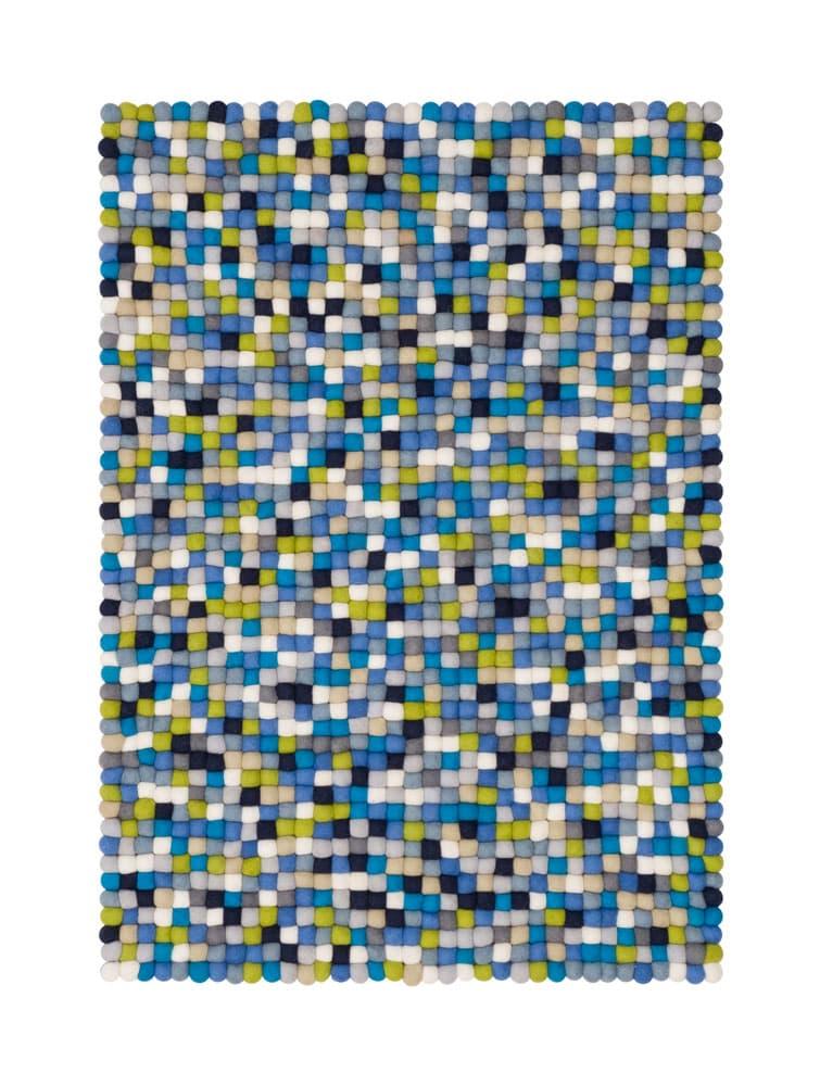 Alfombra colores rectangular azul-verde-blanco pequeña