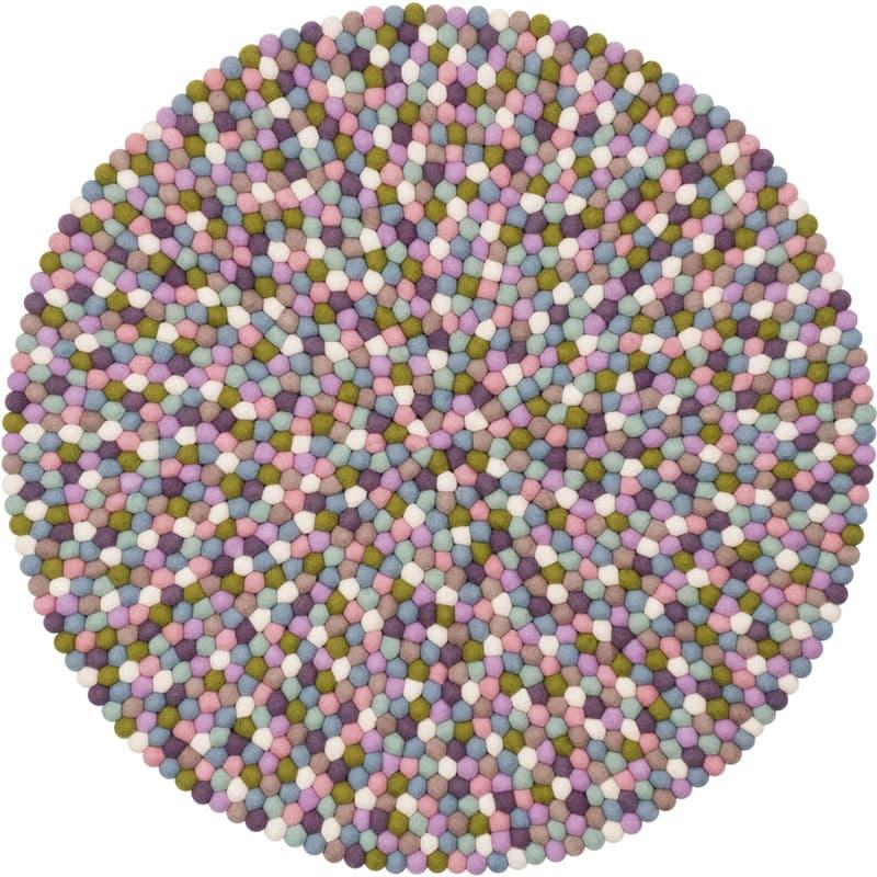 Alfombra redonda bolas color pastel pequeña entera