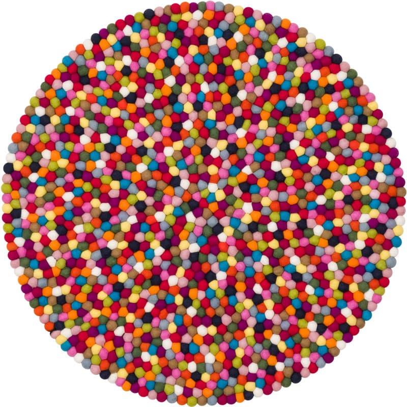 Alfombra redonda bolas multicolor pequeña entera