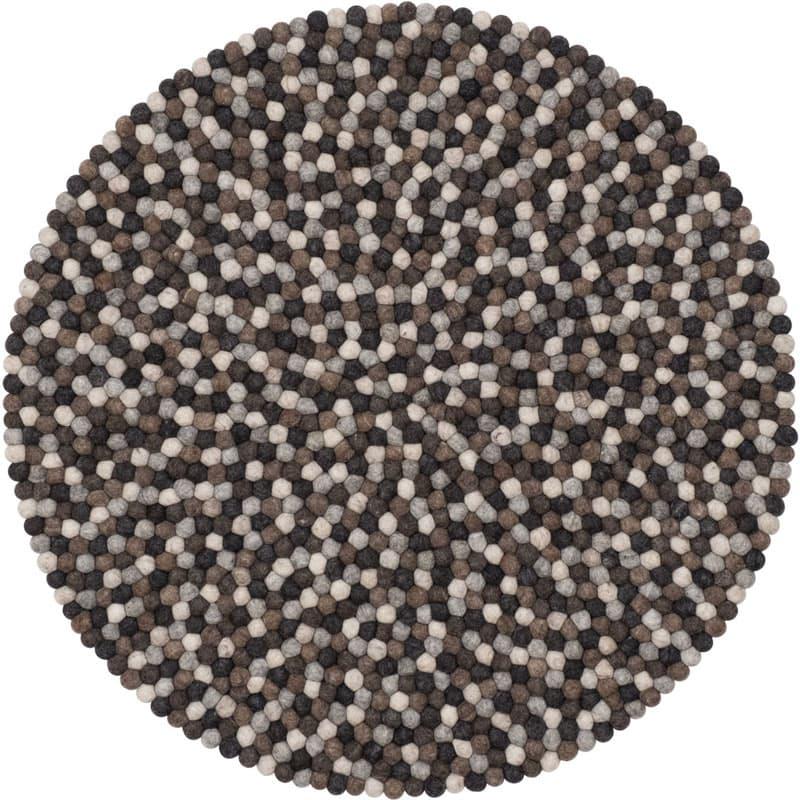 Alfombra redonda bolas natural oscuro pequeña entera