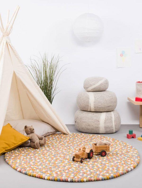 Alfombra redonda habitación infantil multicolor claro