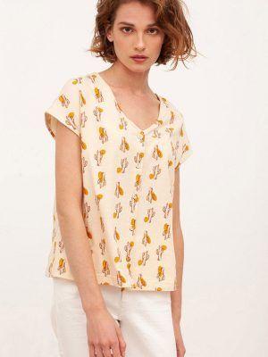 Blusa de algodón orgánico beige estampado cactus