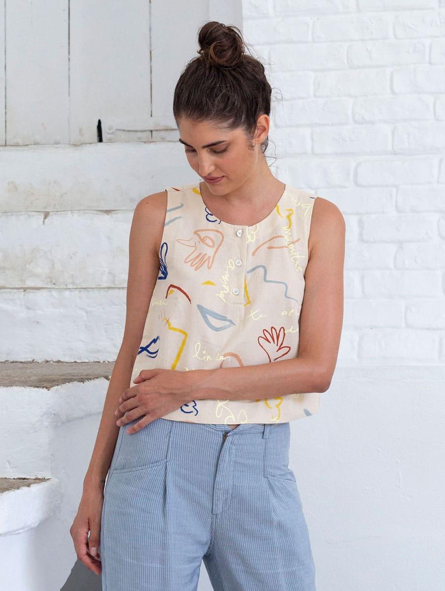 Blusa de lino y algodón orgánico