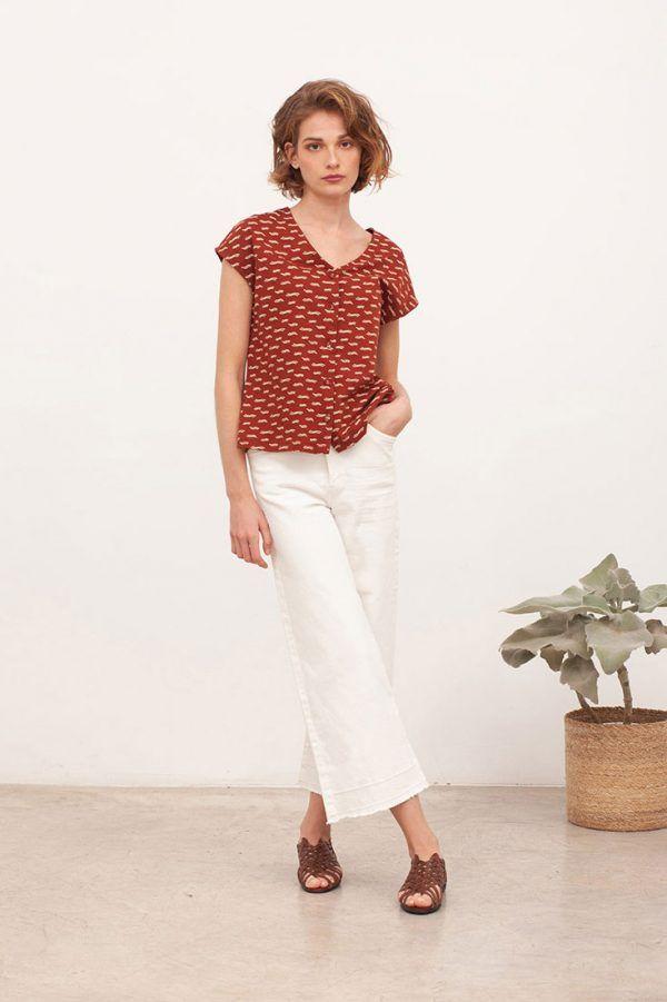 Blusa manga corta algodón orgánico color teja