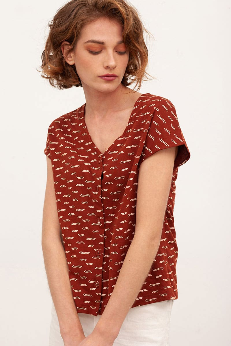Blusa manga corta color teja algodón orgánico